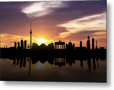 Berlin Sunset Skyline  Metal Print by Aged Pixel