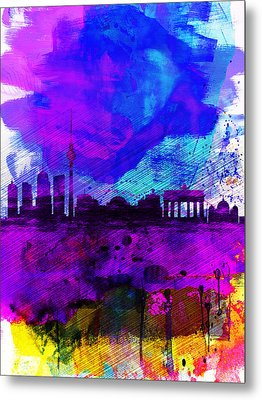 Berlin Watercolor Skyline Metal Print