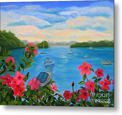 Bermuda Hibiscus - Bermuda Seascape With Boats And Hibiscus Metal Print