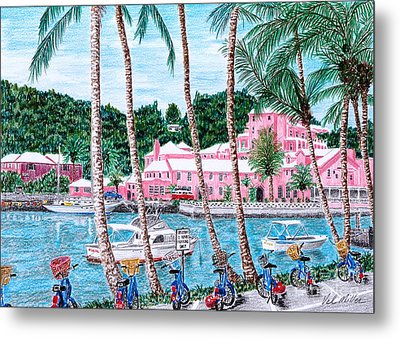 Metal Print featuring the painting Bermuda Pink Hotel by Val Miller