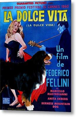 Bernese Mountain Dog Art Canvas Print - La Dolce Vita Movie Poster Metal Print