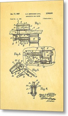 Berninger Reprojecting Ball Bumper Patent Art 1967 Metal Print