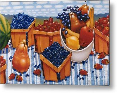 Berries And Fruit 1997  Skewed Perspective Series 1991 - 2000 Metal Print by Larry Preston