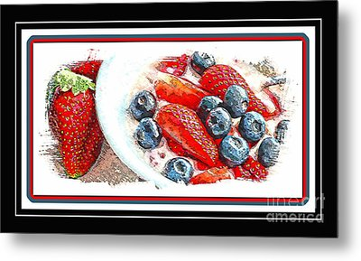 Berries And Yogurt Illustration - Food - Kitchen Metal Print by Barbara Griffin