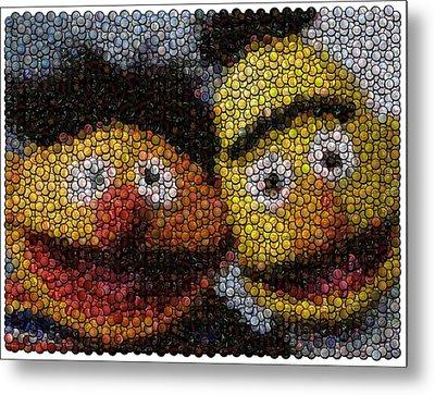 Bert And Ernie Bottle Cap Mosaic Metal Print