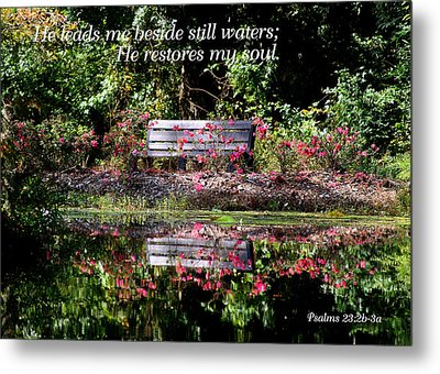 Beside Still Waters Metal Print by Paula Tohline Calhoun