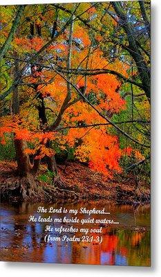 Beside Still Waters Psalm 23.1-3 - From Fire In The Creek B1 - Owens Creek Frederick County Md Metal Print by Michael Mazaika