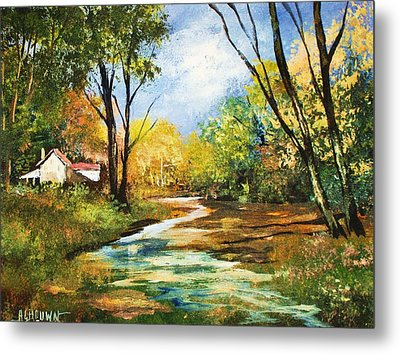 Metal Print featuring the painting Beside The Stream by Al Brown