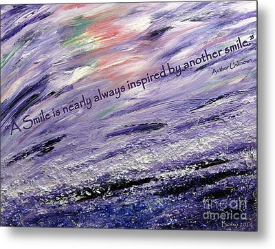 Besso Tsunami Smile Quote Metal Print by Marlene Rose Besso