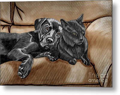 Best Friends Metal Print by Karen Sheltrown