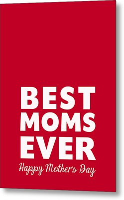 Best Moms Card- Red- Two Moms Mother's Day Card Metal Print by Linda Woods