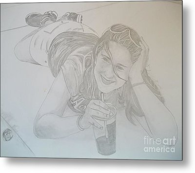 Metal Print featuring the drawing Bethany by Justin Moore