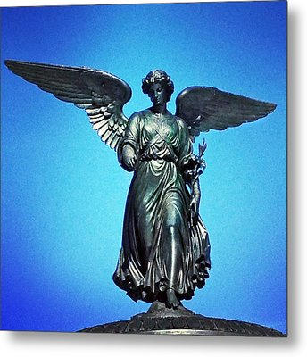 Bethesda Fountain Angel Central Park Ny Metal Print by Kathleen Anderle