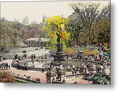 Bethesda Fountain Central Park Nyc Metal Print by Linda  Parker