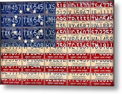 Betsy Ross American Flag Michigan License Plate Recycled Art On Red Board Metal Print by Design Turnpike