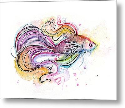 Betta Fish Watercolor Metal Print by Olga Shvartsur