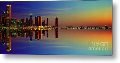 Between Night And Day Chicago Skyline Mirrored Metal Print