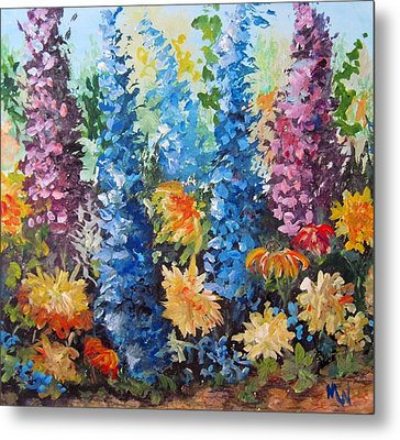 Metal Print featuring the painting Bev's Garden by Megan Walsh