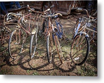 Bevy Of Bicycles Metal Print by Debra and Dave Vanderlaan