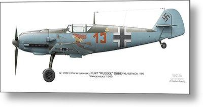 Bf 109e-1 Oberfeldwebel Kurt Ubben 6./tr.gr. 186. Wangerooge 1940 Metal Print by Vladimir Kamsky