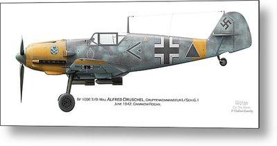 Bf 109e-7/b  Maj. Alfred Druschel Gruppenkommandeur I./sch.g.1 June 1942. Charkow-rogan Metal Print by Vladimir Kamsky