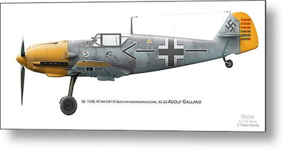 Bf 109e W.nr.5819 Geschwaderkommodore Jg 26 Adolf Galland Metal Print by Vladimir Kamsky