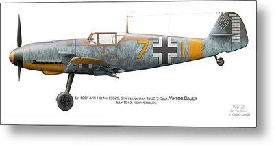 Bf 109f-4/r-1 W.nr.13325. Staffelkapitan 9./jg 3 Oblt. Viktor Bauer. July 1942. Nowy-cholan Metal Print by Vladimir Kamsky