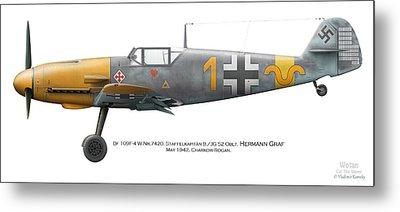 Bf 109f-4 W.nr.7420. Staffelkapitan 9./jg 52 Oblt. Hermann Graf. May 1942. Charkow-rogan. Metal Print by Vladimir Kamsky