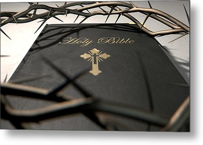 Bible And Crown Of Thorns Metal Print by Allan Swart