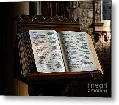 Bible Open On A Lectern Metal Print by Louise Heusinkveld