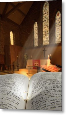 Bible With A Ring In Church Sanctuary Metal Print