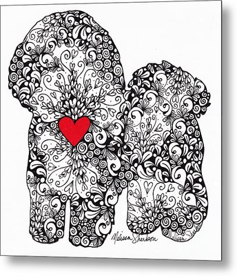 Metal Print featuring the drawing Bichon Frise by Melissa Sherbon