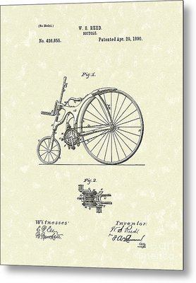 Bicycle 1890 Patent Art Metal Print