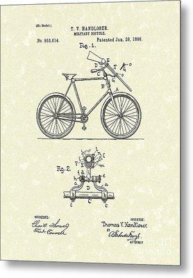 Bicycle 1896 Patent Art Metal Print by Prior Art Design