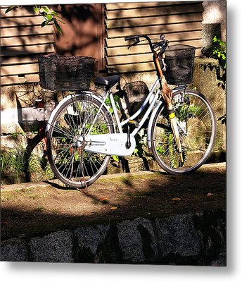 Metal Print featuring the photograph Bicycle And Baskets Kyoto - Philosophers' Walk by Jacqueline M Lewis