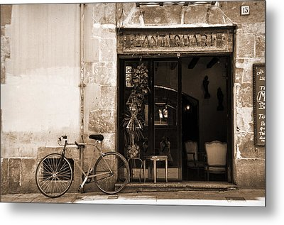 Bicycle And Reflections At L'antiquari Bar  Metal Print by RicardMN Photography