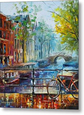 Bicycle In Amsterdam Metal Print by Leonid Afremov