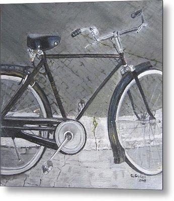 Bicycle In Rome Metal Print