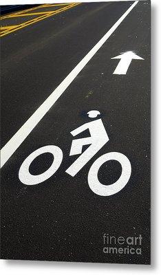 Bicycle Lane Metal Print by Olivier Le Queinec
