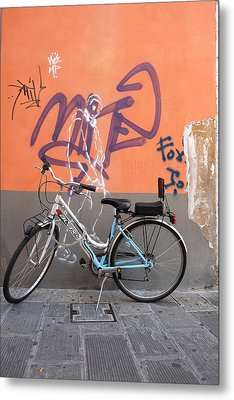 Bicycle Laspezzia Italy Metal Print by John Jacquemain