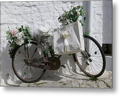 Bicycle Parked Against A Wall, Trulli Metal Print by Panoramic Images