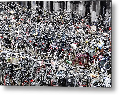 Bicycle Parking Lot Metal Print by Oscar Gutierrez