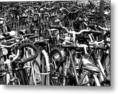 Metal Print featuring the photograph Sea Of Bicycles- Karlsruhe Germany by Joey Agbayani