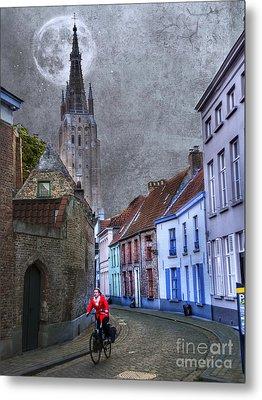 Bicycling Through Bruges Metal Print by Juli Scalzi