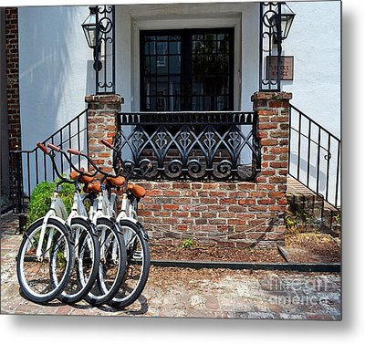 Bicycles In Charleston Metal Print