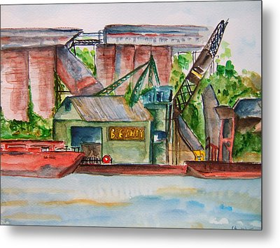 Big Andy Terminal On Ohio River Metal Print by Elaine Duras
