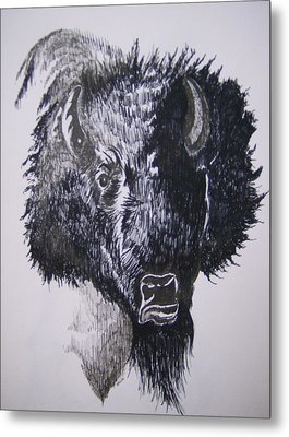 Big Bad Buffalo Metal Print by Leslie Manley