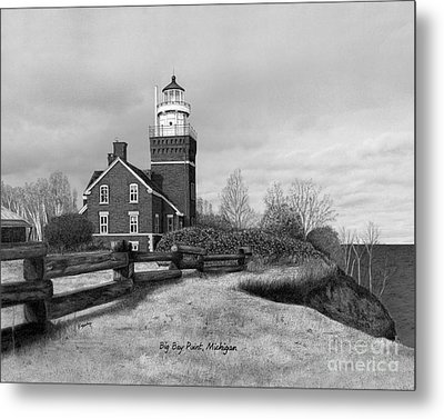 Big Bay Point Lighthouse Titled Metal Print by Darren Kopecky