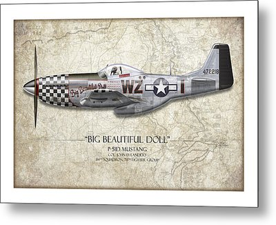 Big Beautiful Doll P-51d Mustang - Map Background Metal Print