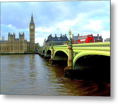 Big Ben And River Thames Metal Print